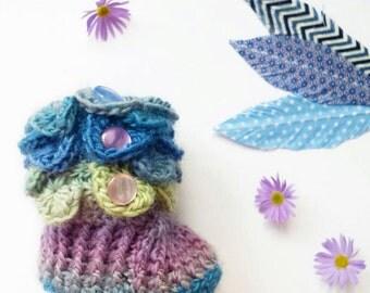 Handmade Feathers - Navy, Blue & White Zig Zag Feather || Washi Tape Feather