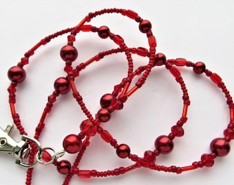 CRIMSON PEARL- Beaded ID Lanyard-Glass Pearls, Czech Glass Beads, and Sparkling Crystal Beads (Magnetic Clasp)