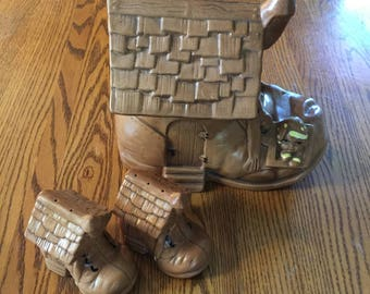 Vintage Cookie Jar and Salt & Pepper Shaker Set ~ Little Old Woman Who Lived In A Shoe by Twin Winton