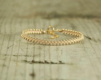 Friendship bracelet Pink and Gold,dainty bracelet,handmade beaded bracelets,stack bracelets,trendy jewelry,bracelet for her,thin bracelet