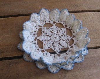 """Small Blue and White Crochet Doily with Ruffled Edge, 5 1/4"""" Vanity Scarf, Cottage Chic"""