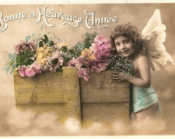 Little Girl Angel with Flower Box Antique French Tinted Photo Postcard from Vintage Paper Attic