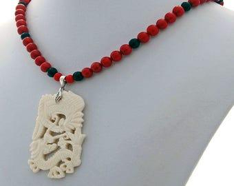 Dragon Phoenix Coral Onyx Handmade Designer Pendant Necklace