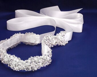 Rhinestone Sash, Bridal Belt, Bridal Sash, Beaded Bridal Belt, Wedding Dress Sash, Crystal Sash, Silver Bridal Belt, Pearl Bridal Sash