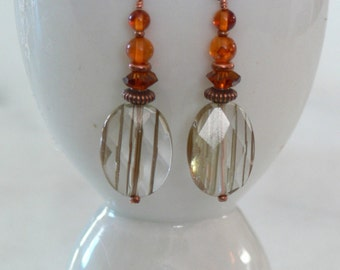Rutilated Citrine Quartz Smokey QuartzEarrings with Amber and copper accents