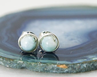 Small Larimar Stud Earrings - Sterling Silver Wire Wrapped Ocean Blue Genuine Gemstone Rounds - Peace, Clarity, Manifestation, Healing