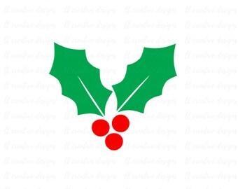 Christmas Holly Svg, Holly SVG, Winter SVG, Christmas SVG, Silhouette Cut Files, Cricut Cut Files