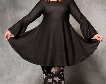 Black denim MINI dress - loose fit dress -twirl winter dress -- womens casual winter dress - oversize dress - over the knee A line dress