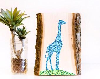Giraffe wood sign, giraffe gift, giraffe baby shower, giraffe nursery art, giraffe decor, giraffe art on wood, safari animal art