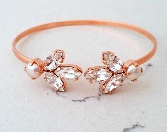 Bridal Wedding Bracelet,Rose gold Crystal Bracelet,Bridal Crystal Cuff,Bridesmaids Jewelry,Cuff Bracelet,Open cuff Bracelet,Adjustable Brace