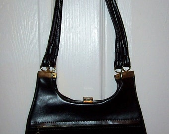 Vintage 1960s Black Vinyl Shoulder Bag Purse Mod Only 9 USD
