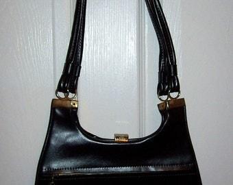 Vintage 1960s Black Vinyl Shoulder Bag Purse Mod Only 10 USD