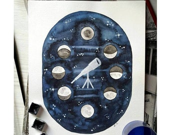 Original watercolor painting Moon phases Telescope Hand painted art Lunar phases illustration Modern wall decor