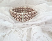 Pearl cuff Bracelet ~ 3 strand ~ Swarovski Pearl bracelet~ Pearl Statement bracelet ~ Brides bracelet ~ Chunky Pearl cuff bracelet,Champagne