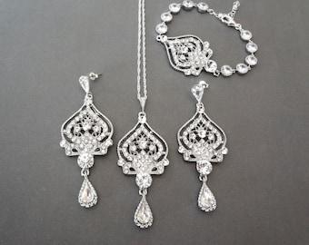 Crystal jewelry set, 3 piece wedding jewelry set, Brides crystal jewelry set, Wedding jewelry set,Crystal Bracelet Earrings Necklace set,MAE