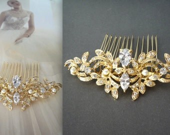 Brides hair comb ~ Teardrop ~ Leaf design ~ Hair accessories ~ Gold Hair comb ~ Marquise ~ Swarovski ~Hair Jewelry~Wedding accessories~LILLY