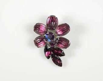 Vintage Purple Flower Brooch Ribbed Amethyst Rhinestone Pin