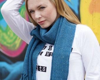 Hand woven scarf women blue tweed wool autumn fashion