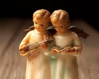 Vintage MCM Angels, Hong Kong, Angel Figurine, Musical Angels Ornament, Mid Century, Gold WIngs