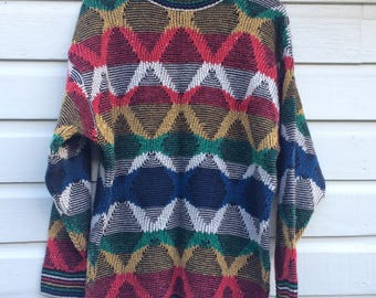 Vintage Norm Thompson Crew Neck Sweater Italian Made - Diamond Wave Pattern - Primary Colors - Portland Oregon