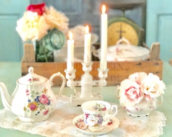 Vintage Ceramic Candle Stick Holders European Vintage Triple Candleholder