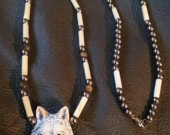 SALE - Wolf Pendant Necklace with Hair Pipe - Antique Nickle - Yellow Tigers Eye Beads - Handmade - Elusive Wolf