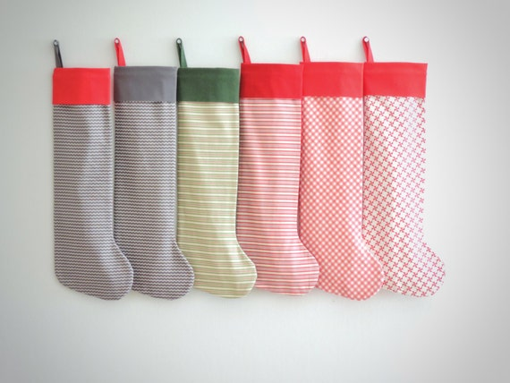 Personalized Christmas Stockings Personalized Stocking, Red Green Gray Kids Stocking, Striped Family Stockings, Modern Boy Girl, Little Cuff