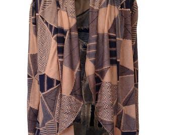 Knit Cardigan, Geometric Cardigan, Mocha, Smoked pink Cardigan, Plus Size Cardigan, Winter Cardigan, Designers Cardigan