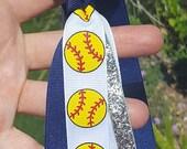 Softball hair bows--you choose ribbon colors--girls softball team pony streamer hair bows--