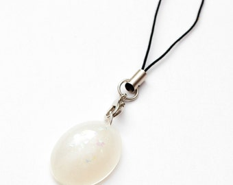 Steven Universe Pearl gem phone charm - resin jewelry, SU fanart, stevenuniverse, pearl charm
