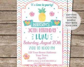 Luau Invitation - Hula Invitation - Luau Birthday Invitation - Luau Party - Summer Party Invitation - Download & Personalize in Adobe Reader