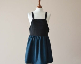 Black pinafore dress, apron dress, jumper dress, pinafore apron dress, wool dress, womens pinafore, womens clothing, pinafore apron dress