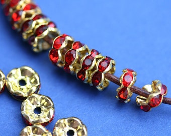 25pc Golden Rhinestone Rondelle Spacer Beads, Red MIX rondels, Siam Ruby, Nickel Free, 8mm Grade A, Wavy Edge - 0196
