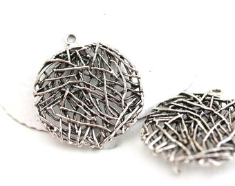 2pc Antique Silver wire Charms Connectors, 20mm Circle Round metal beads, Geometrical charms, ...