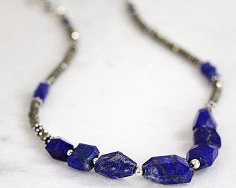 Chunky Lapis Lazuli Necklace - Blue Statement Necklace - Chunky Necklace - Beaded Jewelry - Silver Gemstone Jewelry