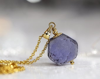 Raw Sapphire Necklace - Rough Blue Sapphire Pendant - September Birthstone - Blue Sapphire Jewelry - Rough Sapphire Jewellery - Fine Jewelry
