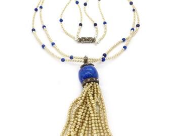 Vintage Art Deco Pearl Drop Lapis Glass Necklace