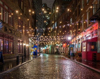 Stone Street Manhattan - Cityscape at Night - Financial District Photography - New York City Photography
