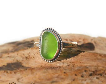 Hawaiian Bright Lime Green Beach Glass Set in Sterling Silver Handcrafted Ring - Size 7.5