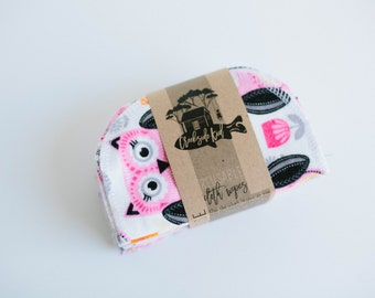 Cloth Wipes Baby  Wipes  Sustainable Unpaper Napkins- Set of 20 -  Double Layer  ( owls )