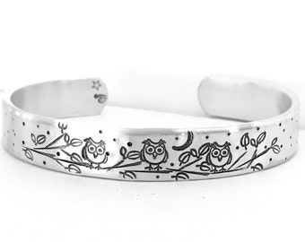 Owl Bracelet - Hand Stamped Cuff - Owl Jewelry - Bird Bracelet - Cuff Bracelet - Gifts for Bird Lovers - Custom Cuff - Metal Bracelet