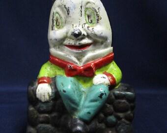 "Vintage Cast Iron Nursery Rhyme Humpty Dumpty Bank 5.5"""
