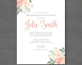 Simple Elegant Bridesmaids Luncheon Bridal Brunch Invitation; Printable File Printed Invitations; Peach Green Flower