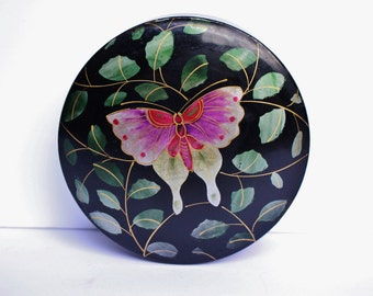 Vintage Retro 60s Mid Century Japanese Black Lacquer Wood Hand Painted Butterfly Wooden Round Box, Made in Japan