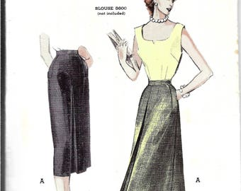 Vintage 1950s Skirt Pattern, Pleated Skirt, Gored Skirt, Tailored Skirt with Pockets, Four Gore Skirt with Inverted Pleats, Waist 28 Inches