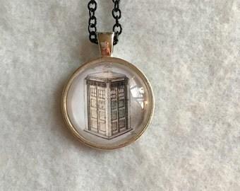 Tardis Necklace - Doctor Who - One Inch - Cabochon - Handmade - Custom - Drawn - Summer - Comicon - Graduation - Wedding - Teacher - Gift