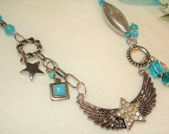 WINGED STAR Necklace - Assemblage Jewelry - Silver and Turquoise Blue - Winged Star-Aqua Beads - DANGLES -24 inches