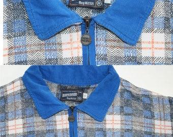 Vintage Tartan Polo Shirt - Plaid tshirt -Blue contrast collar tee-zip up neckline  t-shirt large 42 slouchy loose mens unisex top