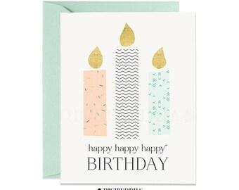 Happy Birthday Card, Birthday Candles, Peach & Mint Birthday Card, Modern Birthday Card Pastel Birthday Card Single Card or Boxed Set BC0001