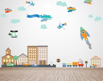 Plane Decal, Rocket Decal, Cars Decal, City Scene Buildings Decal, Ecofriendly No Toxins No PVCs Decals, WD800B